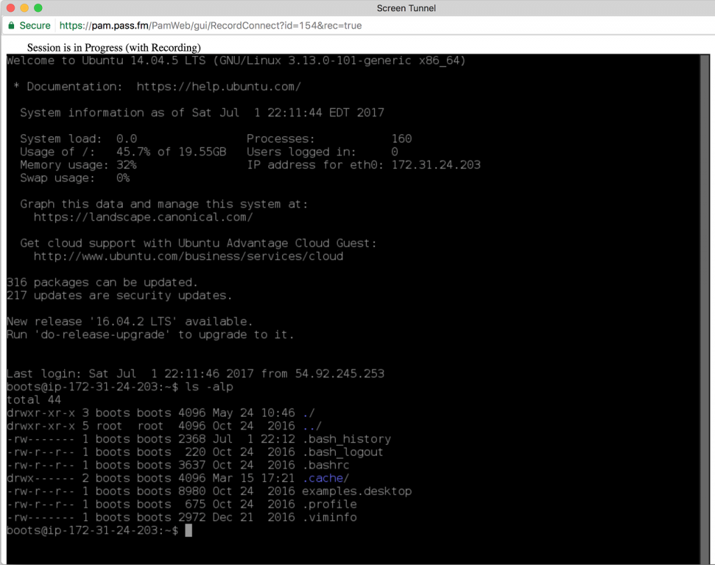 Privileged Unix session using Shell via a web browser (recording)
