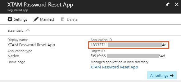 XTAM Azure Active Directory Application ID
