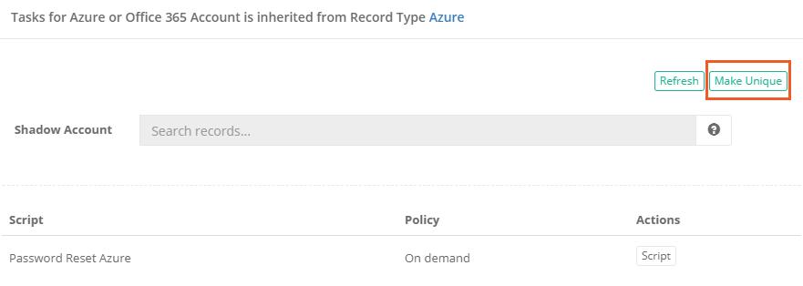 XTAM Azure or Office 365 Password Reset Unique Task