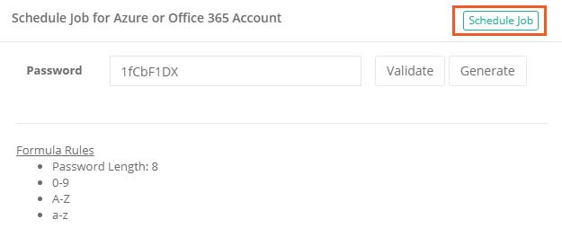 XTAM Azure or Office 365 Password Reset Schedule Job