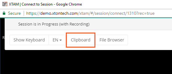 XTAM Remote Clipboard - Clipboard Menu Option