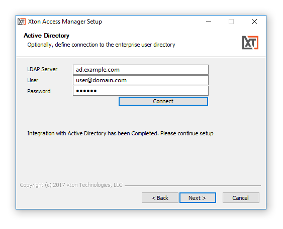 XTAM Active Directory Integration During Installation