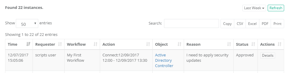 XTAM Workflow Instance Approved