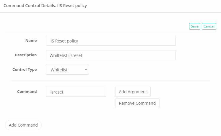 XTAM Command Control Whitelist Policy