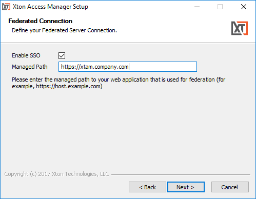 XTAM Federated Sign-In Connection Parameters
