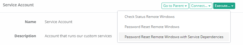 Password Reset Service Dependencies Execute Task