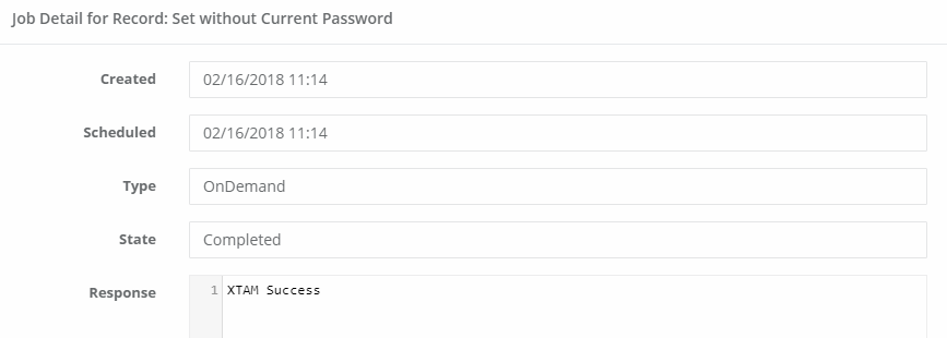 XTAM Set Password Task Job Details