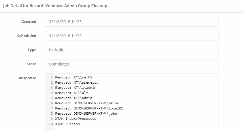 XTAM Administrators Group Cleanup Task Job Details