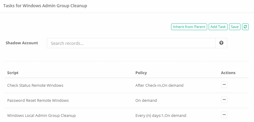 XTAM Administrators Group Cleanup Task Configuration