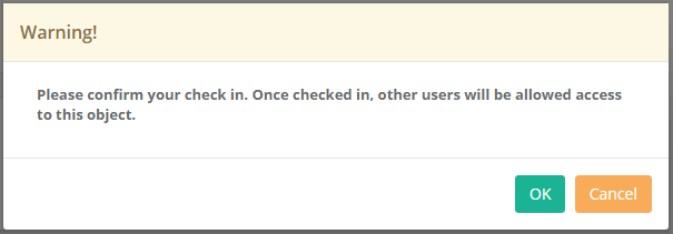XTAM Check In Confirmation Dialog