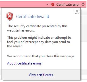 XTAM Web Browser Certificate Warning