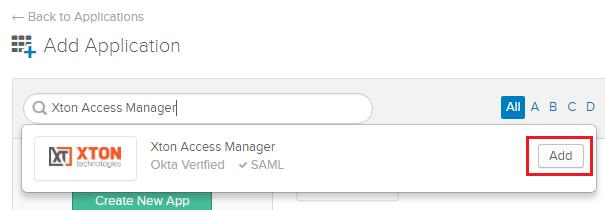 XTAM Okta Add Application