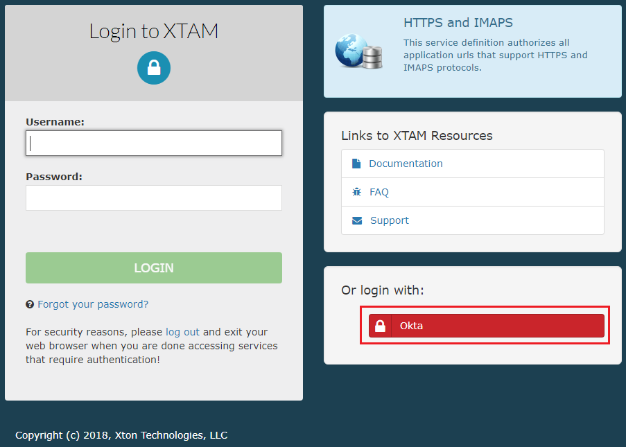 XTAM Okta SSO Login Button