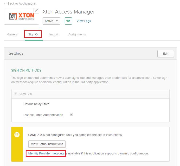 XTAM Okta Application Sign On