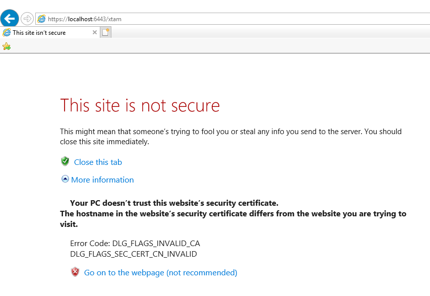 XTAM Self-signed Non-trusted SSL Certificate Warning
