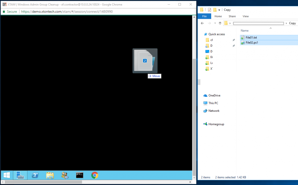 XTAM Session Copy Windows Drag and Drop