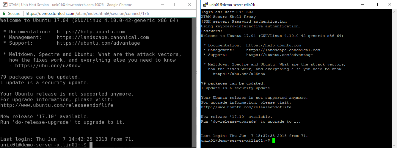 XTAM SSH Connection Examples