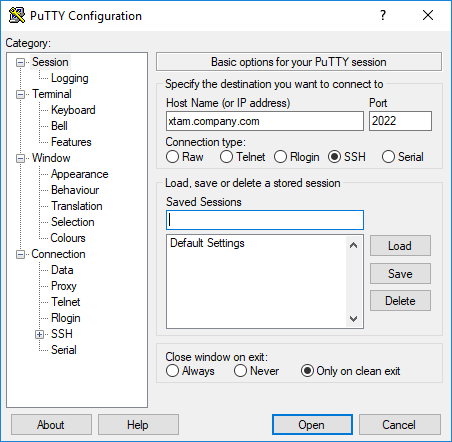 XTAM PuTTY Session Connection