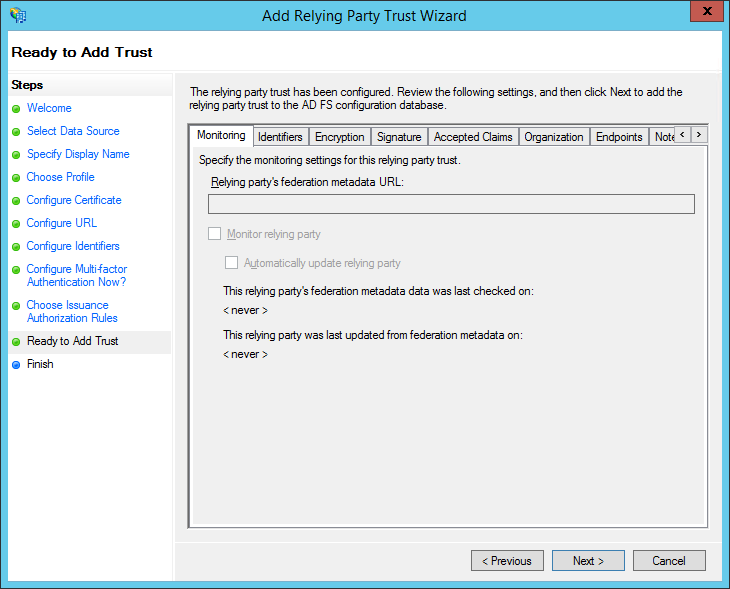 XTAM ADFS - Create RPT - Ready to Add Step