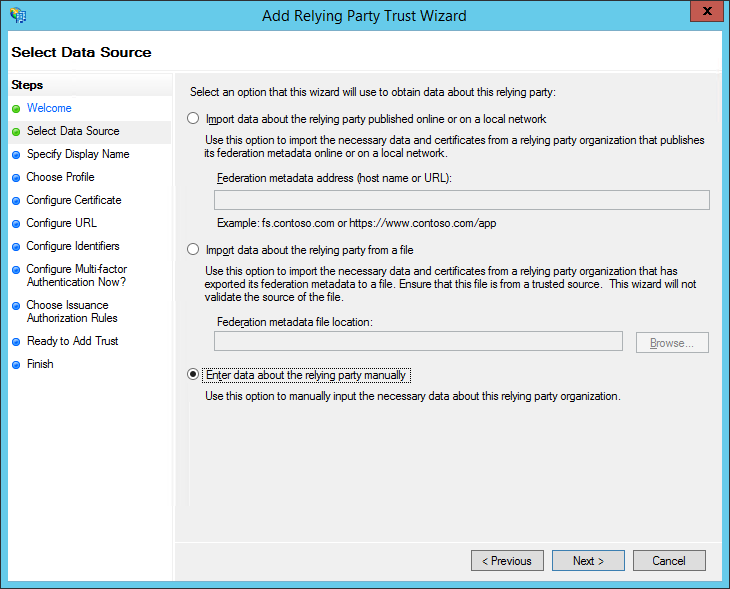 XTAM ADFS - Create RPT - Select Data Source Step
