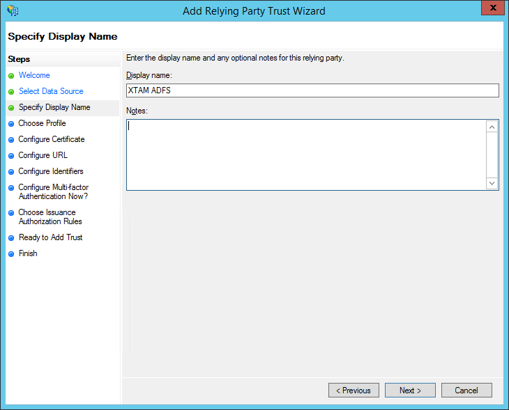 XTAM ADFS - Create RPT - Specify Display Name Step