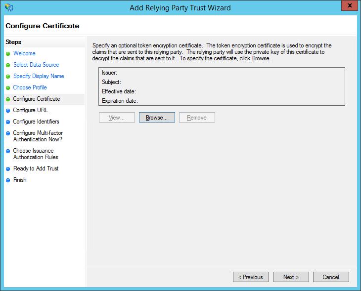 XTAM ADFS - Create RPT - Configure Certificate Step