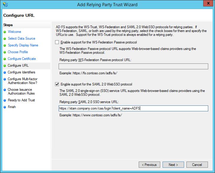 XTAM ADFS - Create RPT - Configure URL Step