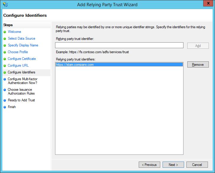 XTAM ADFS - Create RPT - Configure Identifiers Step