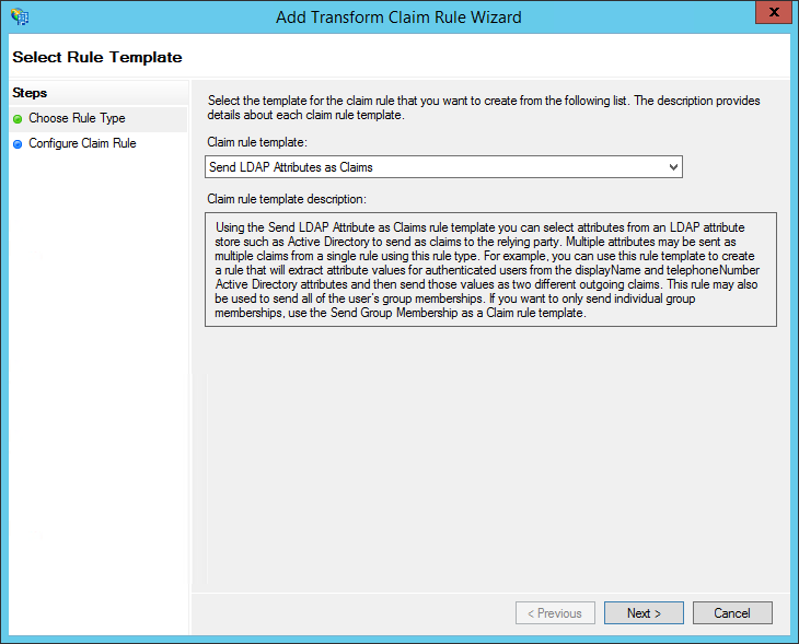 XTAM ADFS - Create Claim Rule - Rule Template Step