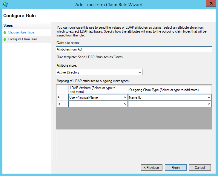 XTAM ADFS - Create Claim Rule - Rule Type Step