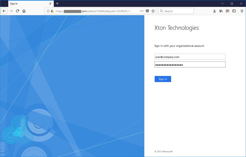XTAM ADFS SSO Login Page