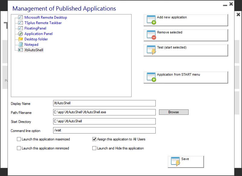 XTAM Privileged Remote Apps Launcher using TSplus   Xton