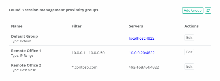 XTAM Proximity Groups for Multiple Session Manager Configuration