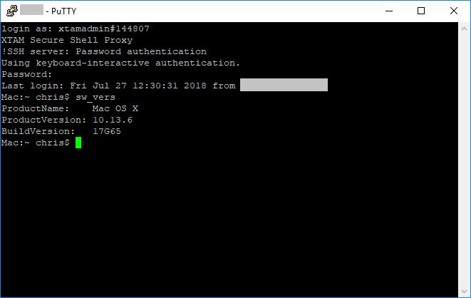 XTAM PAM for Apple (MAC) SSH Proxy Session