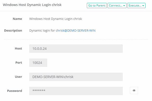 XTAM Dynamic Login Credential Record