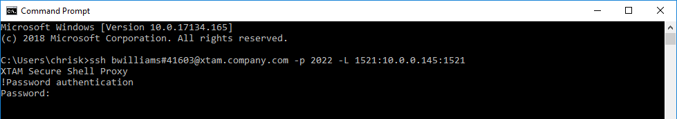 XTAM SSH Tunnel Connection Password Prompt