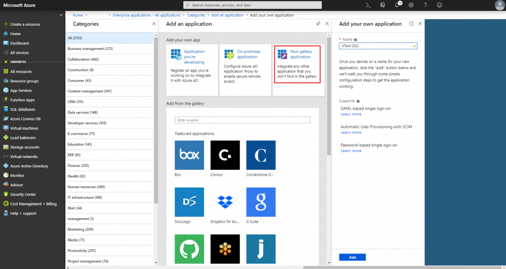XTAM Azure SSO SAML Integration - Add a Non-gallery Application
