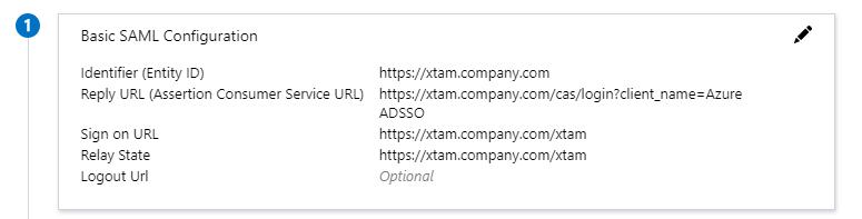 XTAM Azure SSO SAML Integration - Basic SAML Configuration