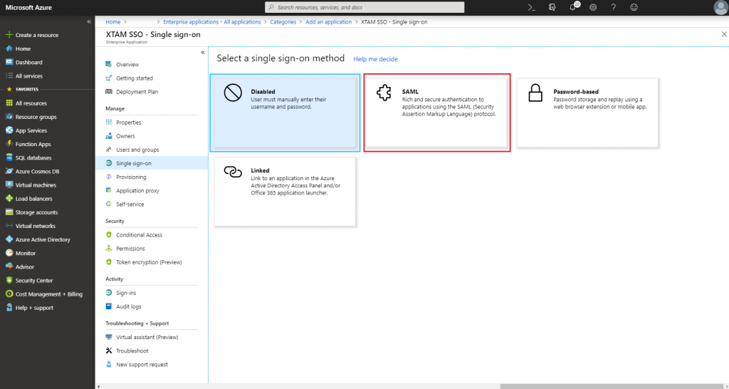 XTAM Azure SSO SAML Integration - Single Sign-on SAML Method