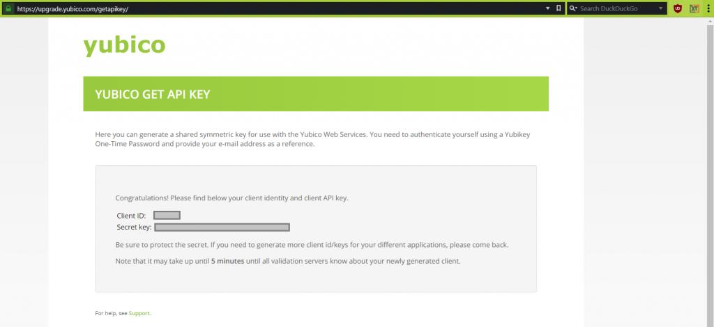 YubiKey XTAM MFA Configuration - Get API Key