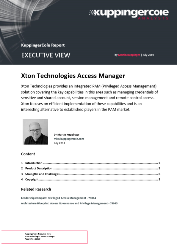 KuppingerCole Xton Technologies Access Manager PAM