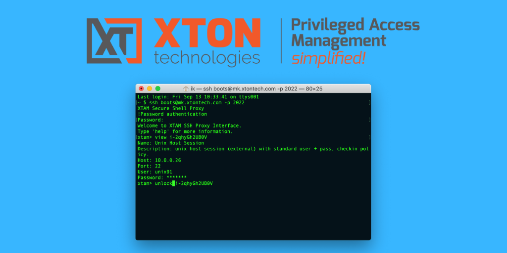 Xton Access Manager Product Update 2.3.201909152349 unlock view command line SSH Proxy