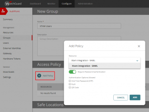 XTAM AuthPoint - Add Group Access Policy