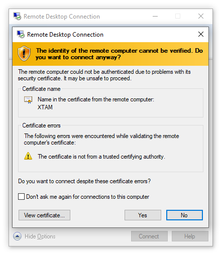 XTAM RDP Proxy - Accept Client Certificate