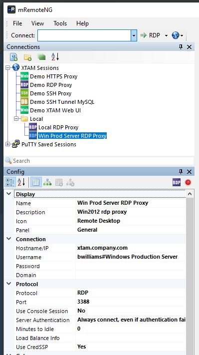 XTAM RDP Proxy using mRemoteNG