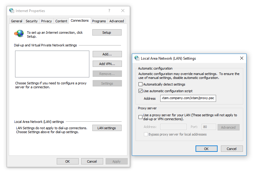 XTAM HTTP Proxy Windows Internet Options LAN Proxy Configuration